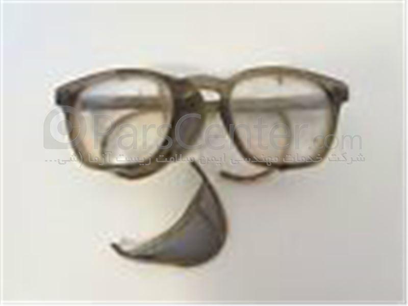 عینک ایمنی تراشکاری فریم دار بغل توری فلزی PO Safety مدل 757