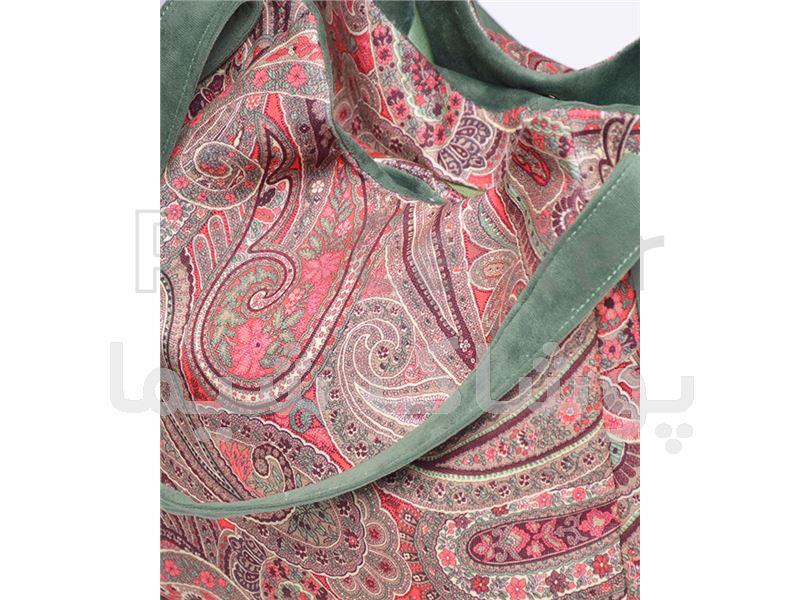 کیف پارچه ای طرح ترنج سبز پوشاک شیما