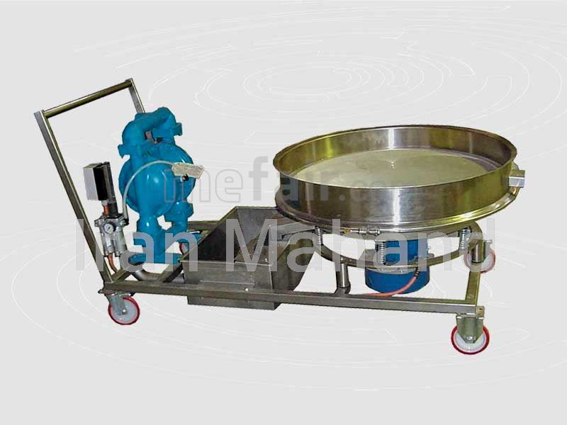 Trolley Unit with sieve,Iron remover with permanent magnets & Diaphragm pump