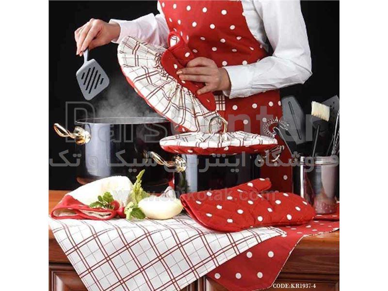 ست سرویس پارچه ای آشپزخانه خالدار قرمز