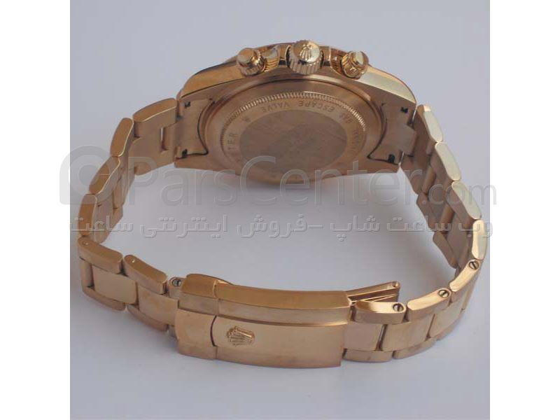 ساعت رولکس high copyمدل  DAYTONA- شیشه ضد خش -بند استیل- رنگ صفحه طلایی-رنگ بند طلایی - ایندکس نگین