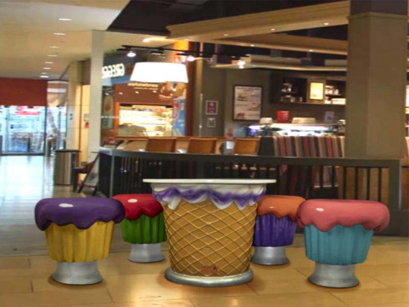 میز و صندلی کاپ کیک رنگی