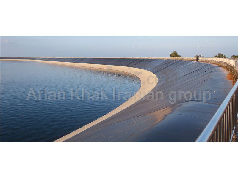 leaching pond construction using geomembrane