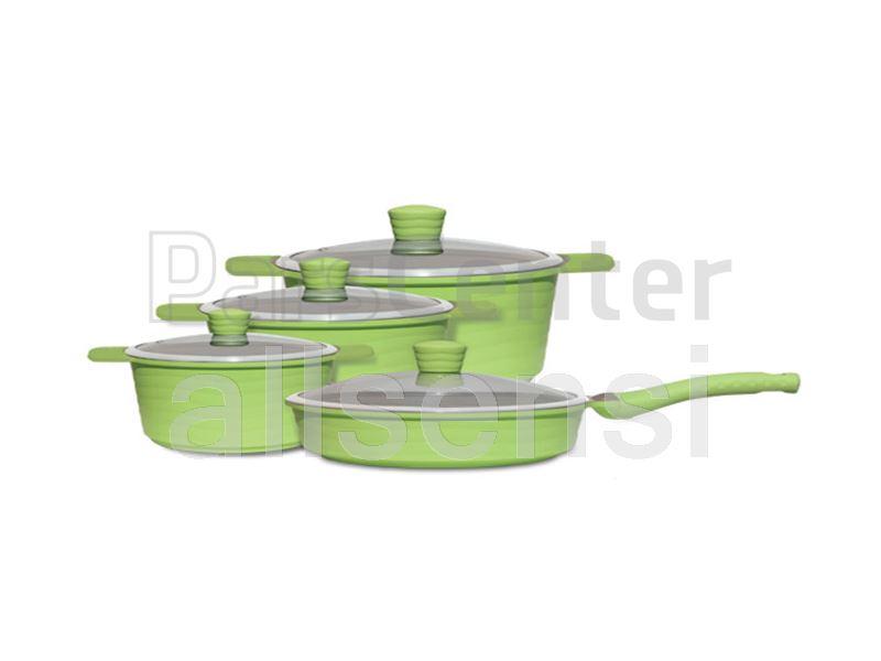 سرویس قابلمه سرامیکی رنگی 12 پارچه مدل ویو سبز
