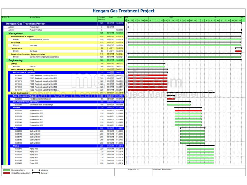 Detailed Schedule Hengam Gas Treatment Project