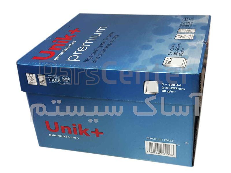 کاغذ تحریر 80 گرم یونیک پلاس|کاغذ Unik+ A4 80gr