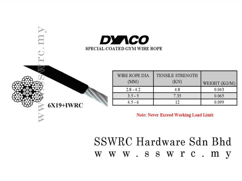 DYACO PVC coated gym wire rope