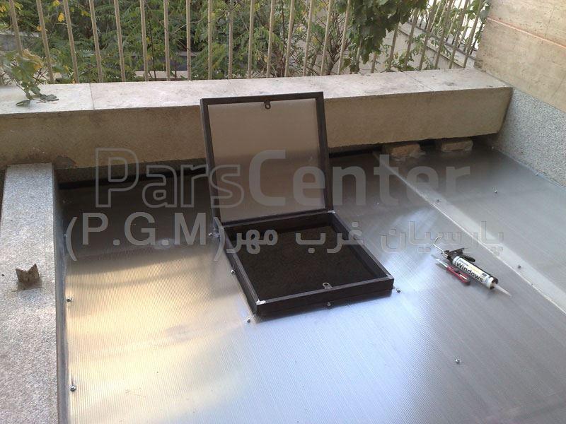 اجرای دریچه روی سقف پلی کربنات حیات خلوت ( ولنجک)