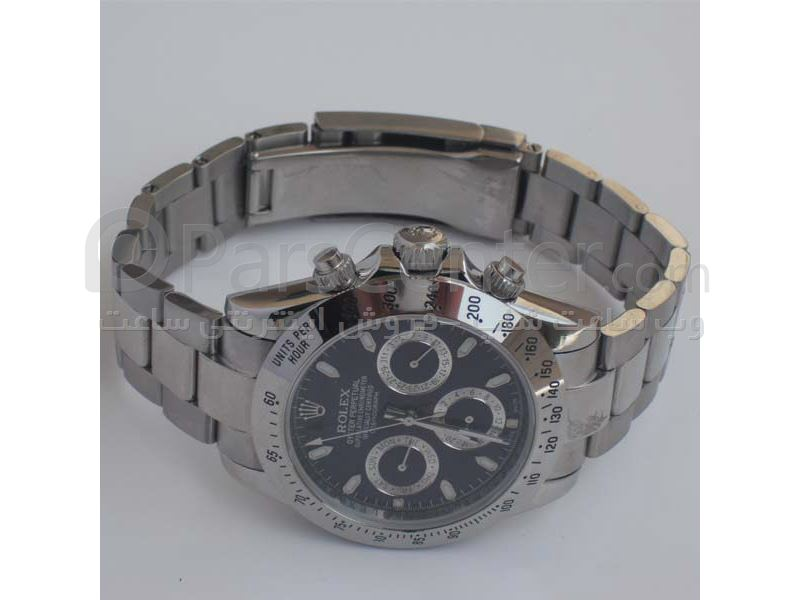 ساعت رولکس مدل  DAYTONA- شیشه ضد خش -بند استیل- رنگ صفحه سورمه ای- ایندکس خطی