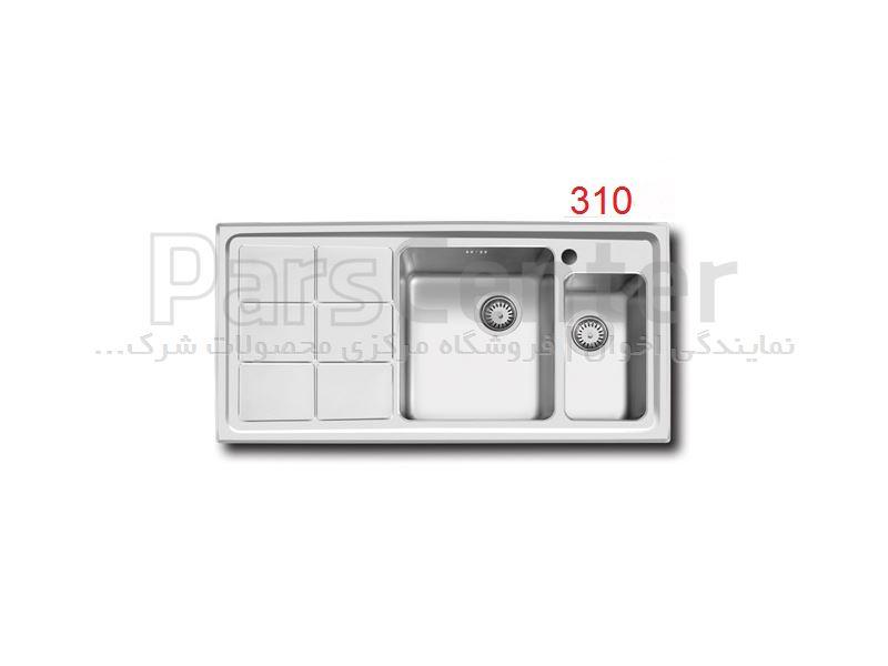 سینک ظرفشویی توکار اخوان باکسی دو لگن مدل 310