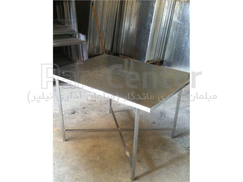 میز گالوانیزه فلزی با  پایه تاشو