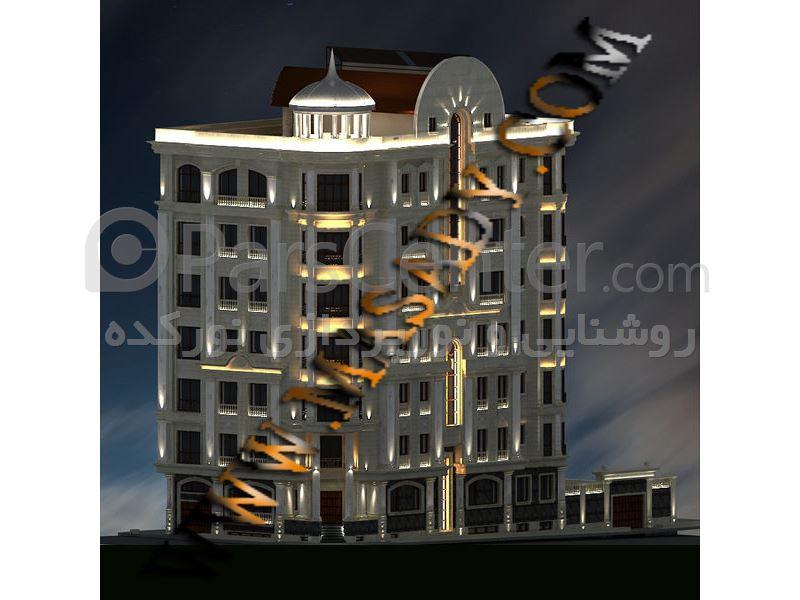 نورپردازی نمای  ساختمان مدرن و کلاسیک led