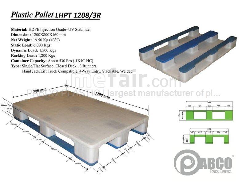 - Plastic pallets Pabco - LHPT1208-3R 800×1200×170 mm