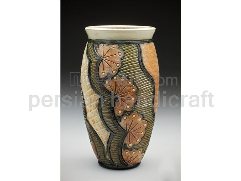 Patineh on pottery vase height 30 cm