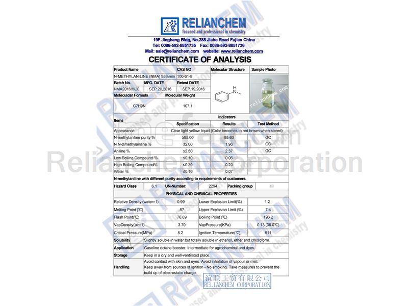 Gasoline Octane Improver /Petroleum Additive /Non-metallic Antiknock: N-methylaniline CAS#: 100-61-8
