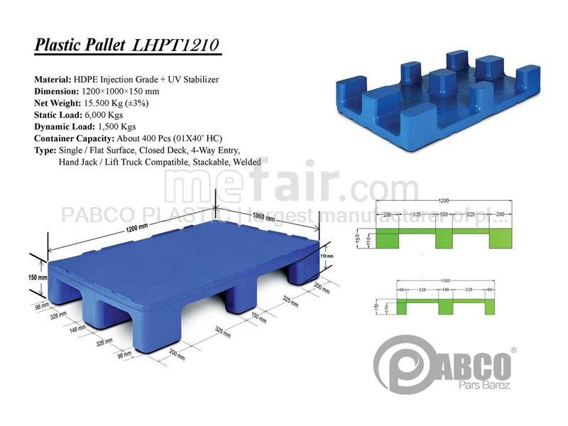 - Plastic pallets Pabco - LHPT1210 1000×1200×170 mm