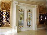 شیشه تزیینی و دکوراتیو تیفانی ( استیندگلس ) برای درب ورودی چوبی و شیشه خور لوکس در پروژه فرمانیه ، برج رویال رزیدنس  Royal Residence