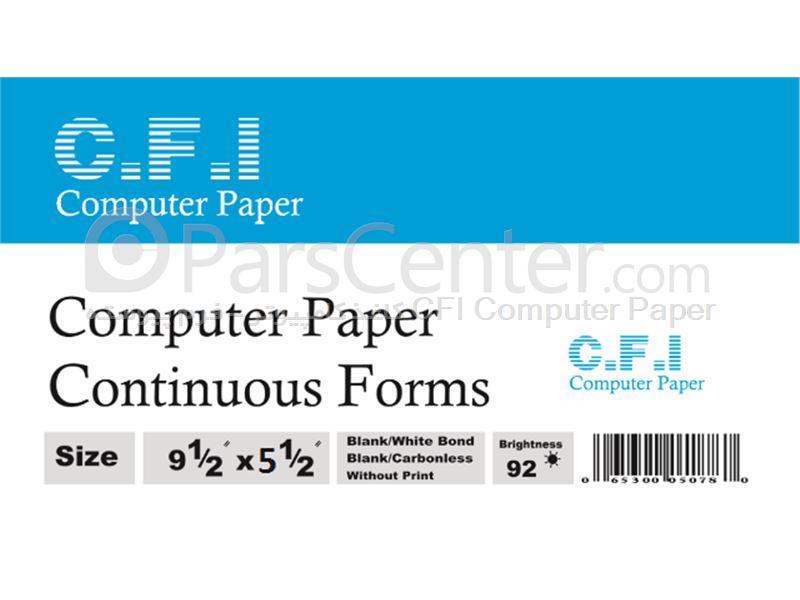 کاغذ کامپیوتر جدید 80 ستونی 2 نسخه کاربن لس 2L وسط پرفراژ CFI Computer Paper