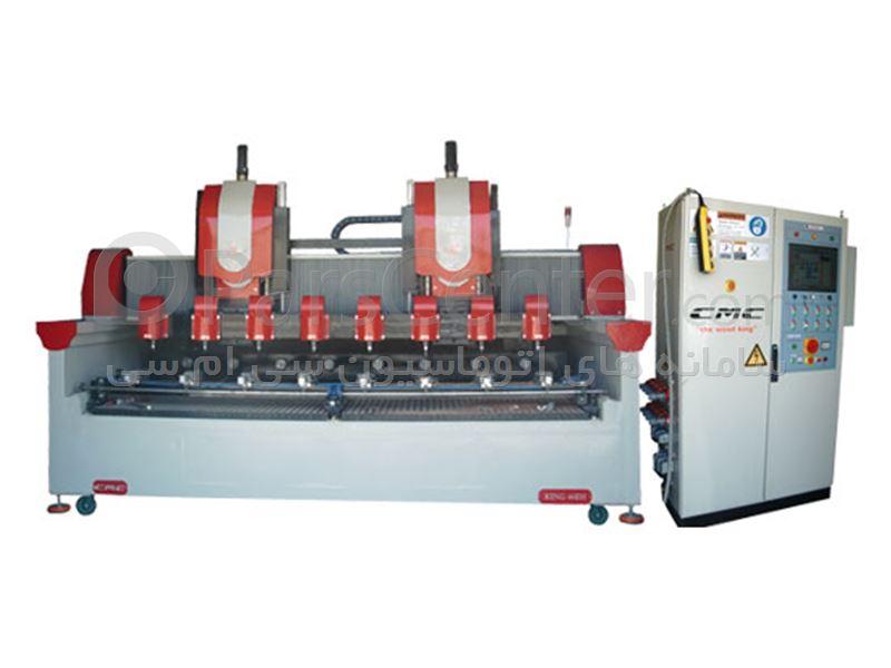 دستگاه CNC چهار محور همزمان هشت کله برش ، حکاکی ، خراطی و منبت کاری چوب مدل King 46-EH