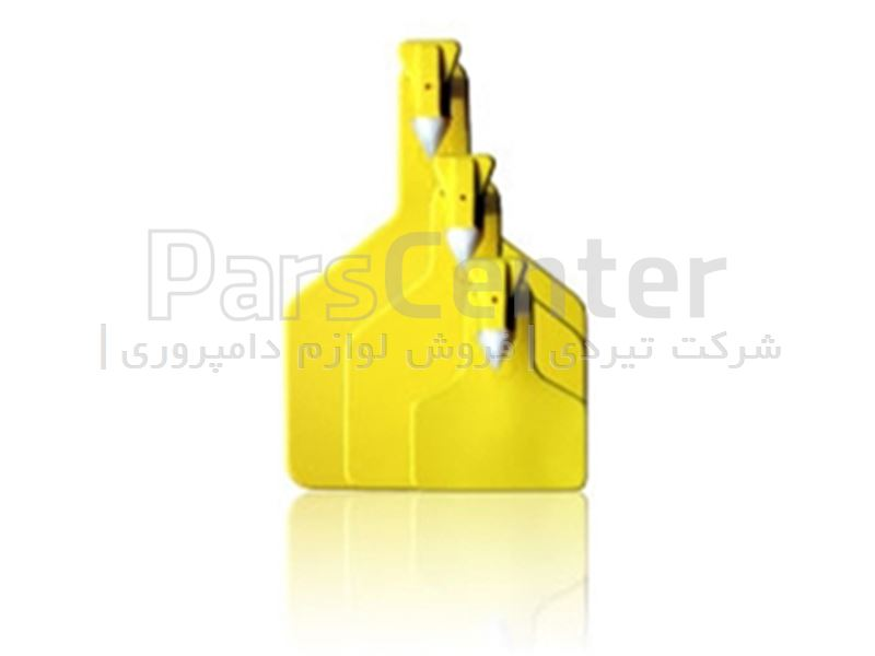 پلاک گوش گاو یک تکه بزرگ زرد