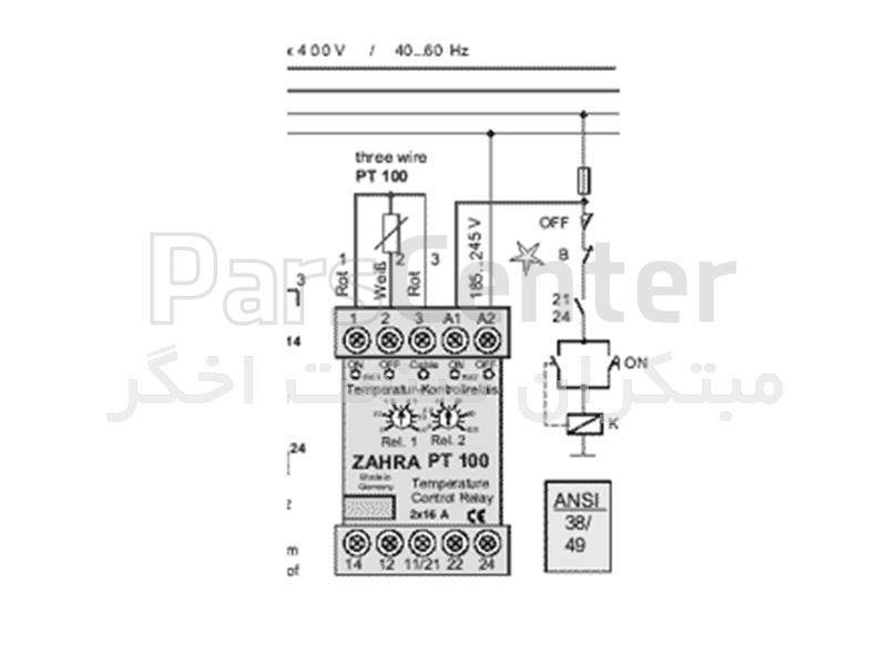رله کنترل درجه حرارت  ZAHRA PT100