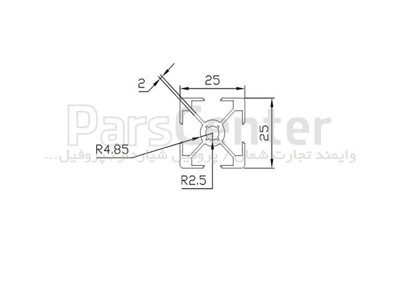 پروفیل صنعتی 25x25
