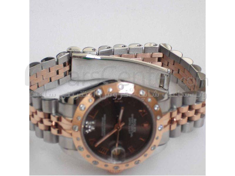 ساعت رولکس high copy مدل  DATEJUST- شیشه ضد خش -بند استیل -رنگ صفحه ساعت شکلاتی