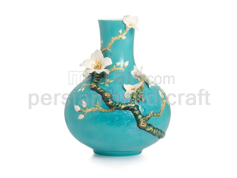 Hub with flower pot design with a height of 25 cm with turquoise glaze