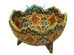 3 Fruit bowl ceramic base with enamel designs on pottery