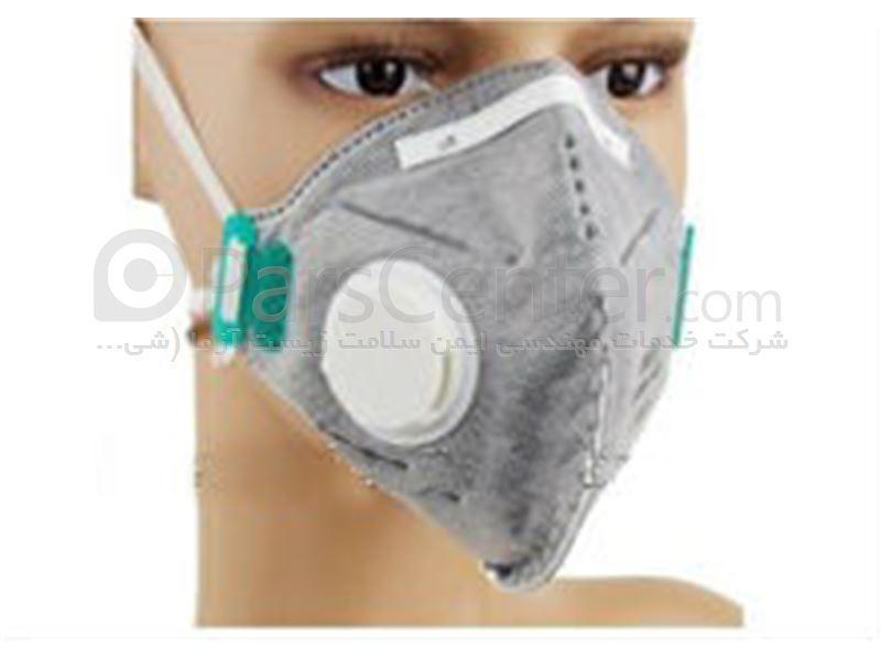 ماسک تنفسی ایمنی سوپاپ دار سفید و کربن فعال 3MAX FFP3