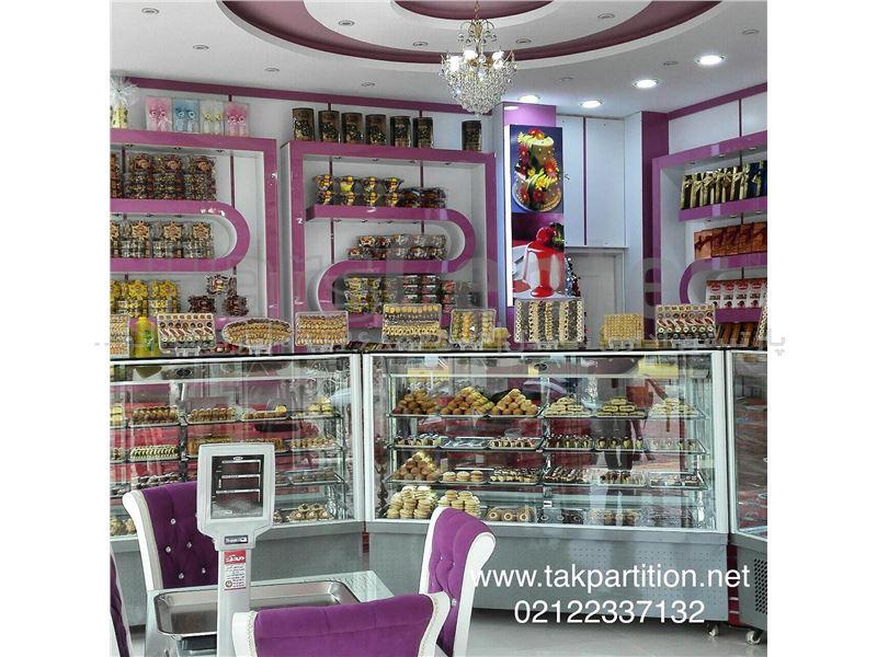 دکوراسیون داخلی شیرینی فروشی# قفسه شیرینی فروشی# پارتیشن
