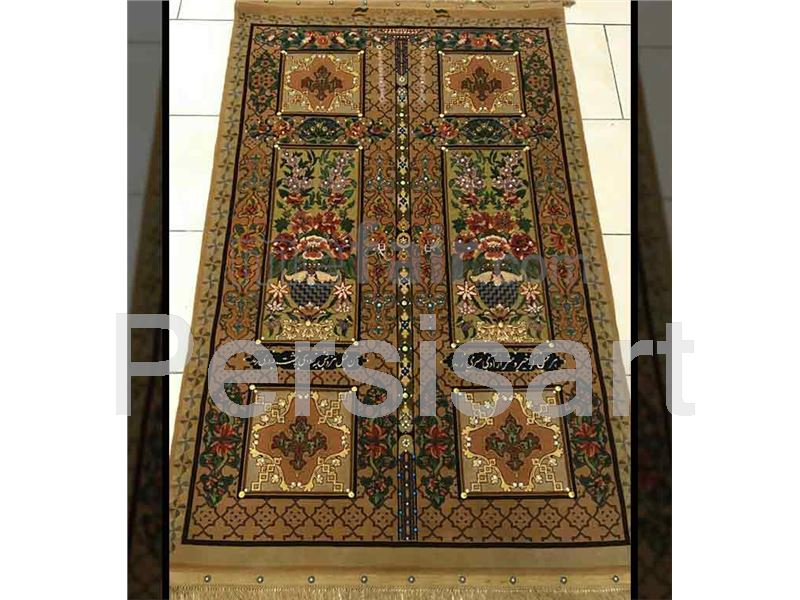 Antique Qajar Carpet with door design