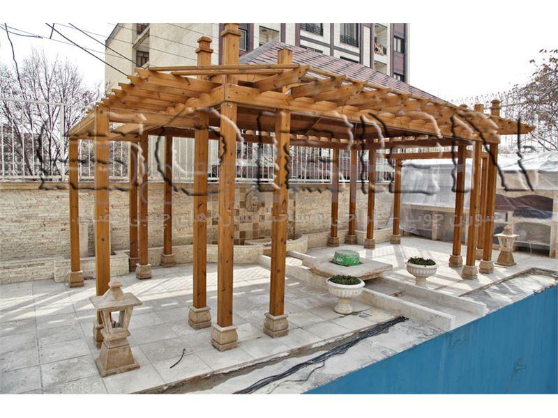 طراحی و ساخت آلاچیق چوبی ( واقع در شهرک غرب - سال 1393)