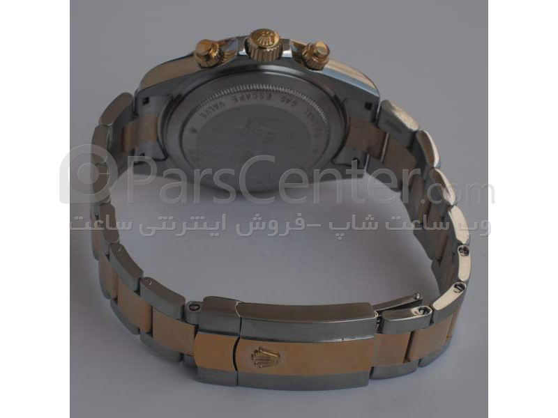 ساعت رولکس high copyمدل  DAYTONA- شیشه ضد خش -بند استیل- رنگ صفحه مشکی-رنگ بند  تلفیق طلایی و نقره ای -