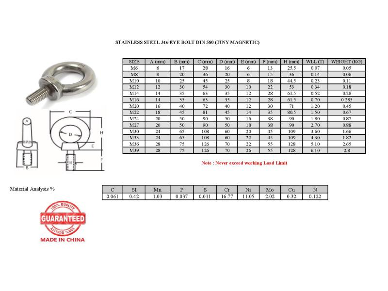 Stainless steel eye bolt DIN580