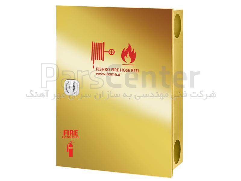 جعبه آتش نشانی درب استیل پیشرو.دو کابین تک درب(طلایی)