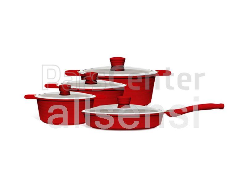 سرویس قابلمه سرامیکی رنگی 12 پارچه مدل ویو قرمز