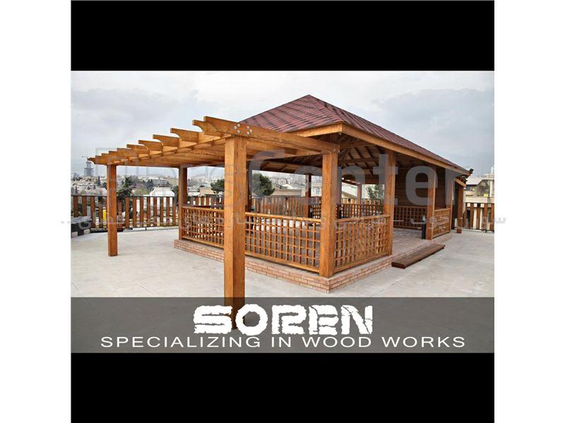 طراحی و ساخت آلاچیق های چوبی با پوشش سقف شینگل