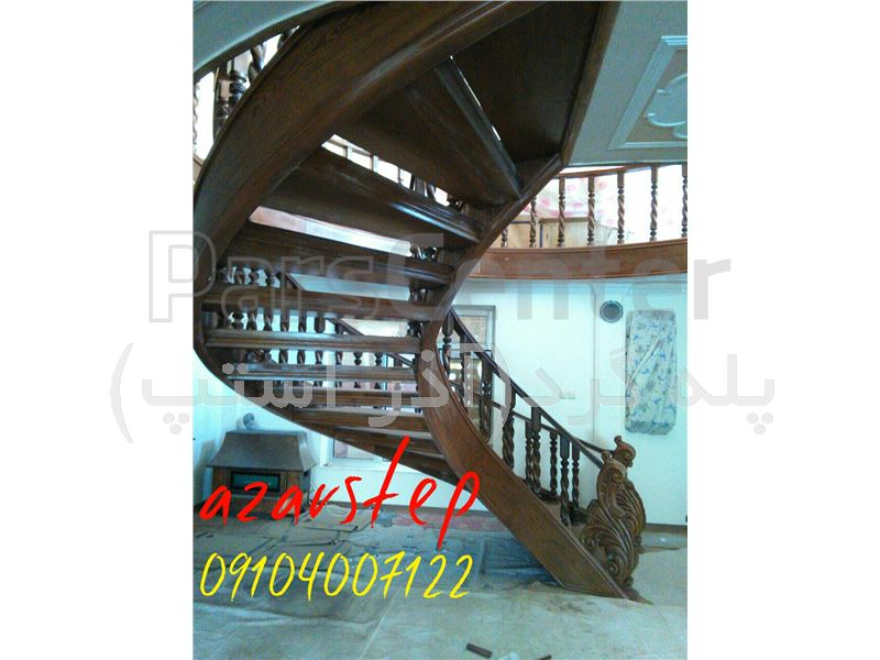 پله گرد چوبی-پله پیچ با کاور تمام چوبی-