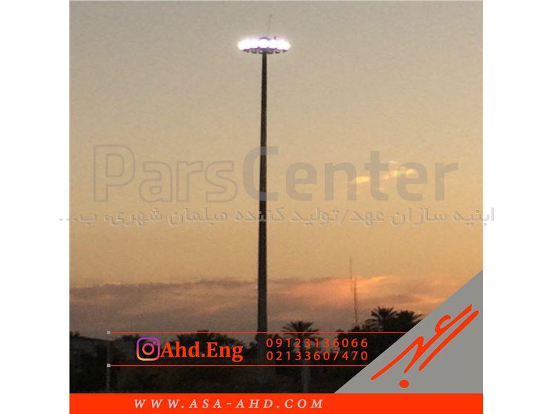 دکل نوری 18 متری گالوانیزه چندوجهی آسانسوری