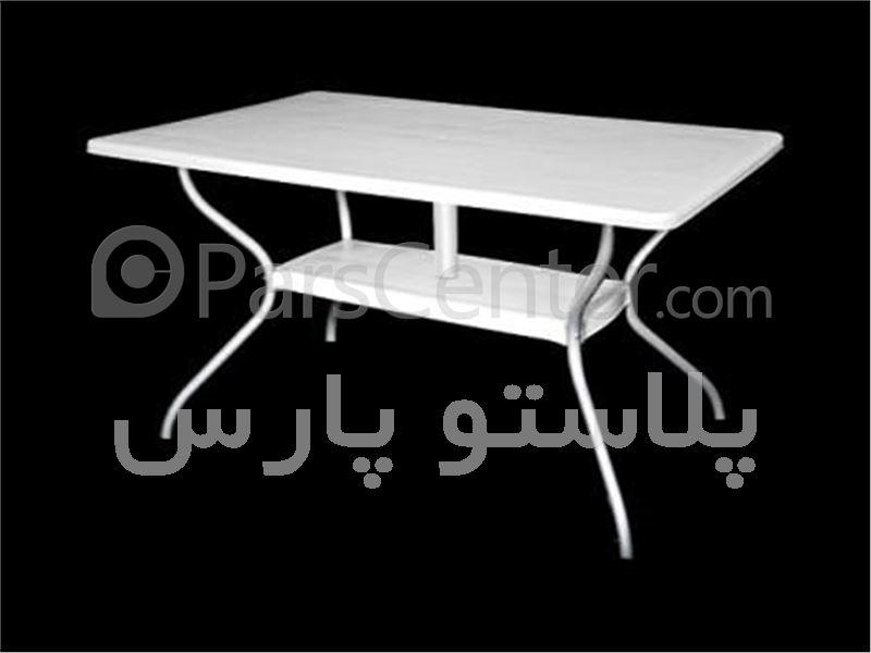 میز پلاستیکی مستطیل پایه فلزی 6 نفره 80*130 کد 101921