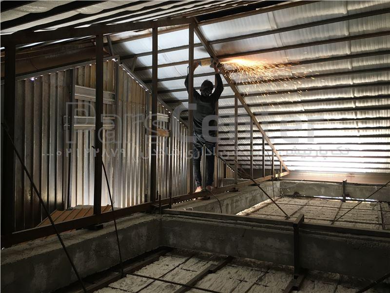 سقف شیروانی - سقف شیبدار- نصب سقف شیروانی- سقف ویلا- تک پارتیشن