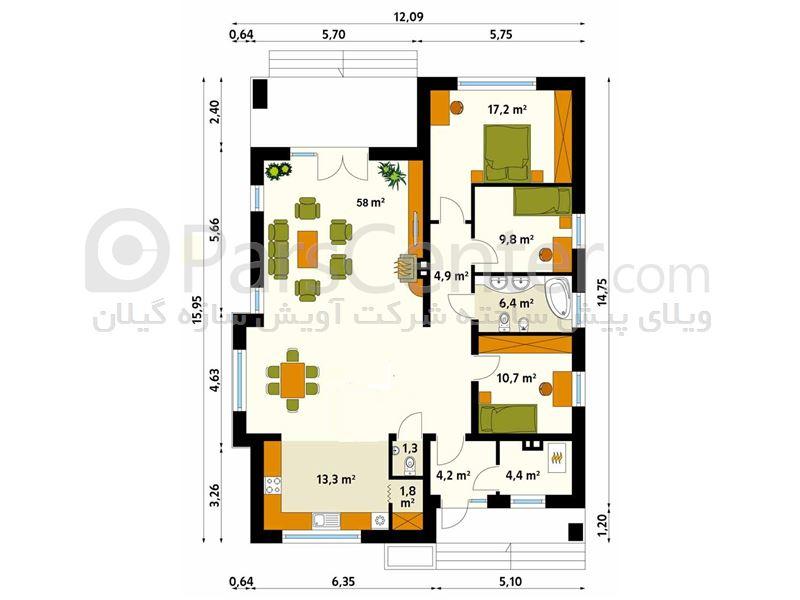 ویلای ال اس اف- سه خواب 133 متر مربعی یک طبقه