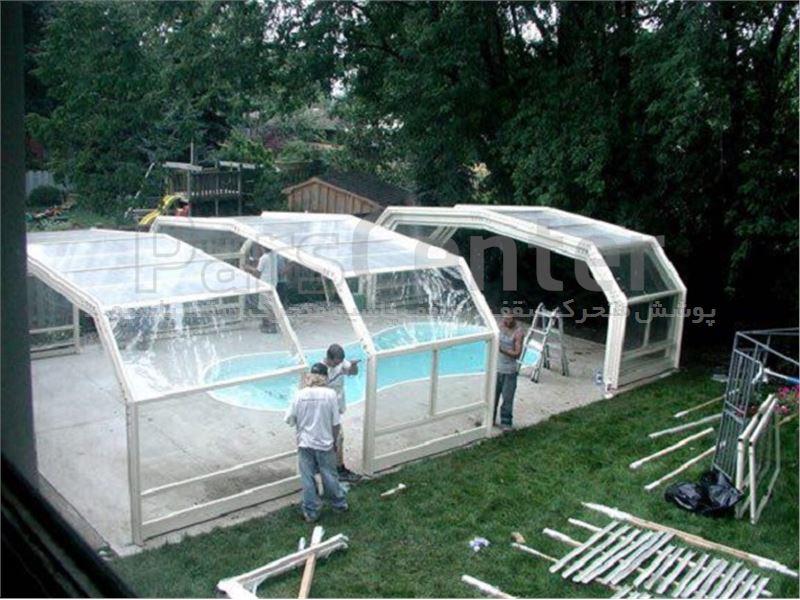 پوشش سقف استخر متحرک ٦ ضلعی کد MS 01
