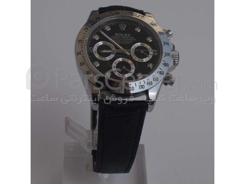 ساعت رولکس مدل  DAYTONA- شیشه ضد خش -بندچرمی- رنگ صفحه مشکی- ایندکس شماره ای