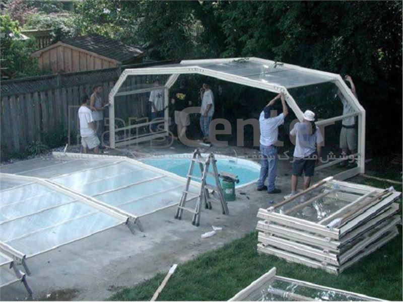 پوشش سقف استخر متحرک ٦ ضلعی کد MS 03