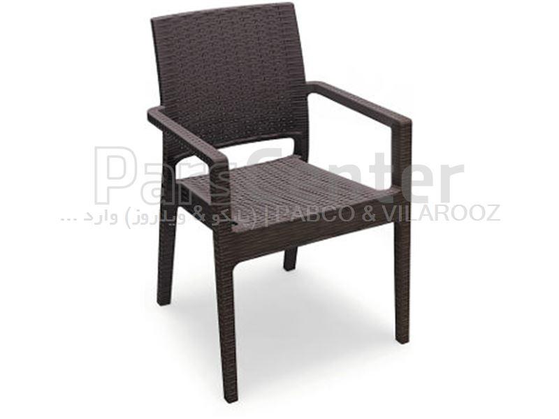 صندلی پلاستیکی حصیری ایزتا دسته دار