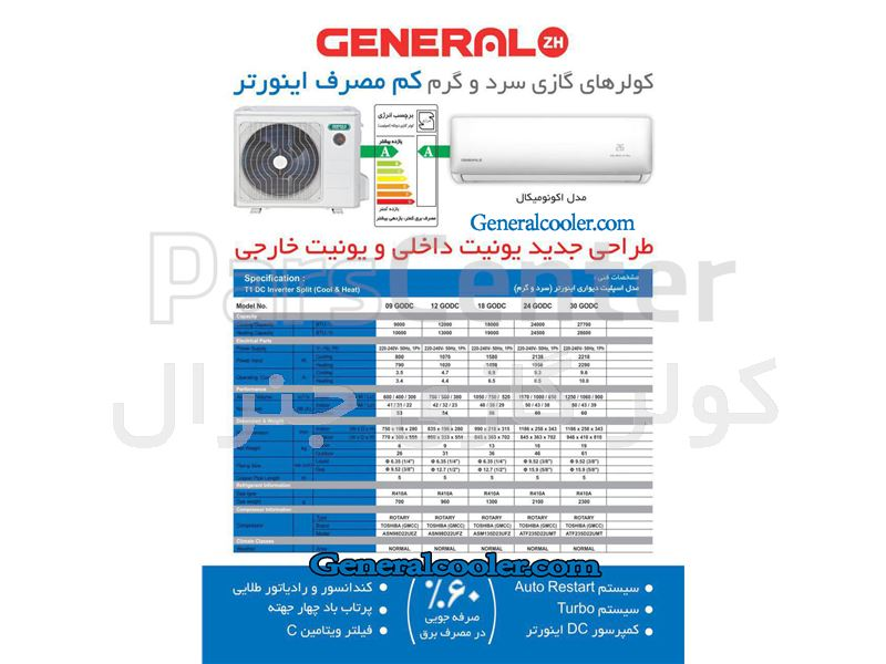 کولر گازی جنرال اینورتر cooler general inverter 24000