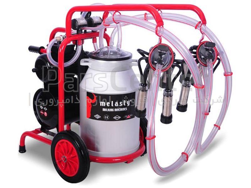 دستگاه شیردوش برقی گاو دوش ملاستی - دو واحد تک بیدون - قرمز