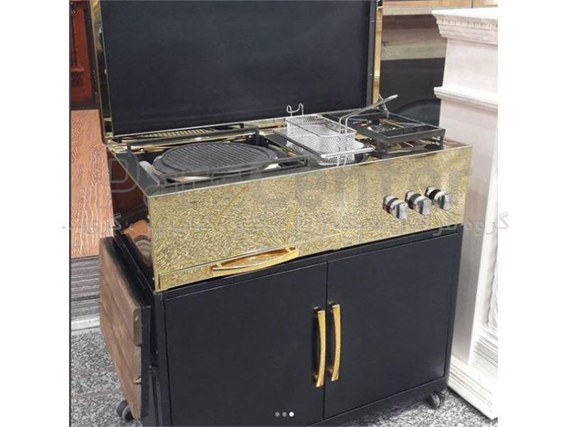 کباب پز گازی استیل طلایی با سرخ کن